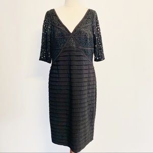 Adrianna Papell Size 16 Black Dress With Lace Bust